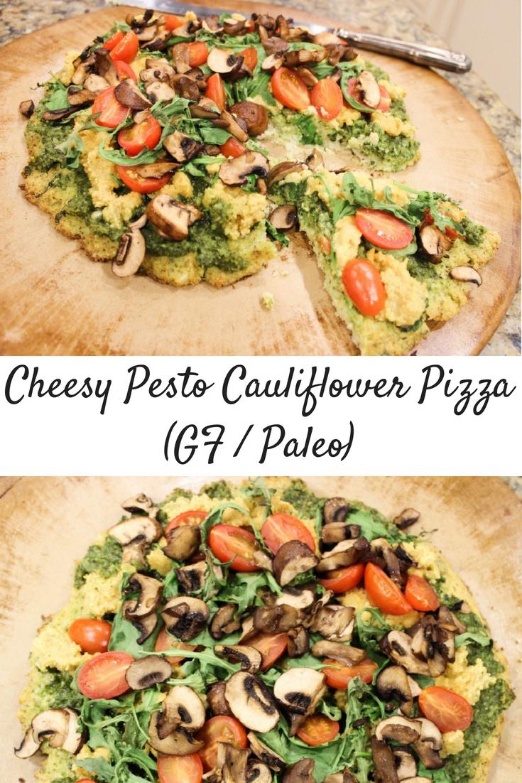 Fully-Loaded Cheesy Pesto Cauliflower Pizza! (GF)