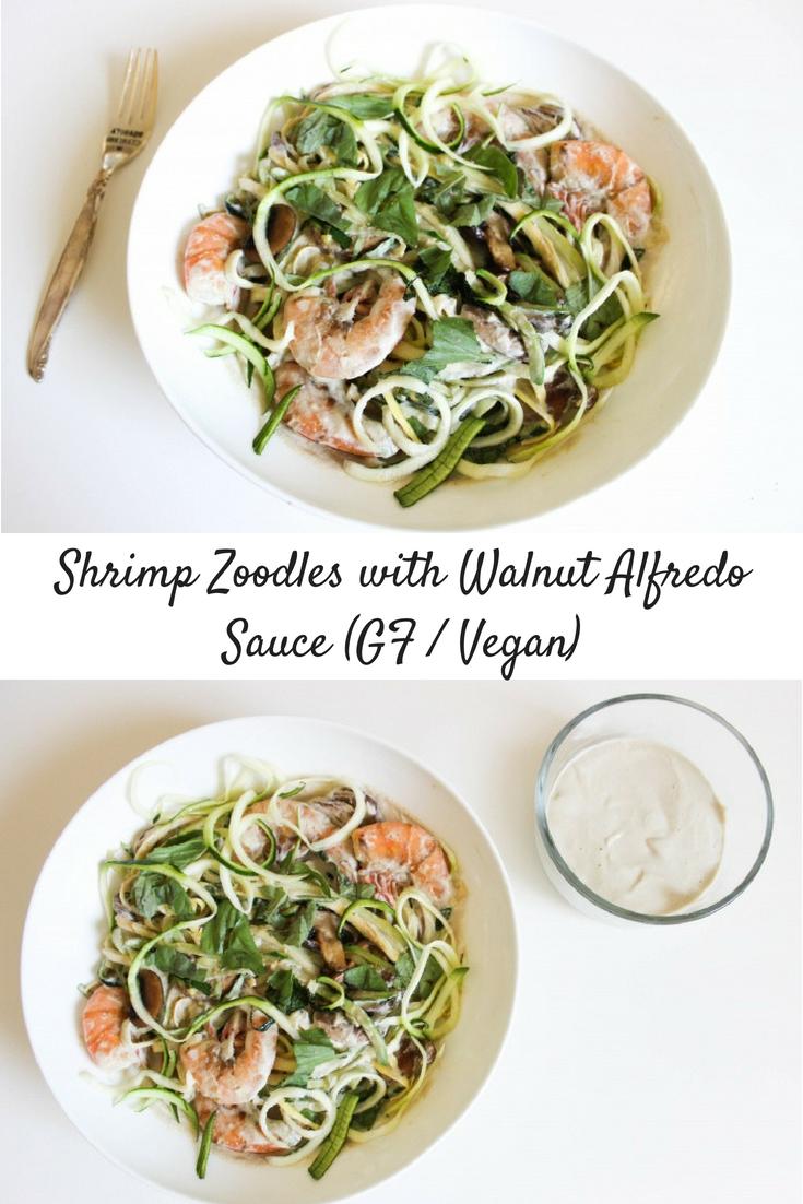 Shrimp Zoodles with V/GF Walnut Alfredo Sauce