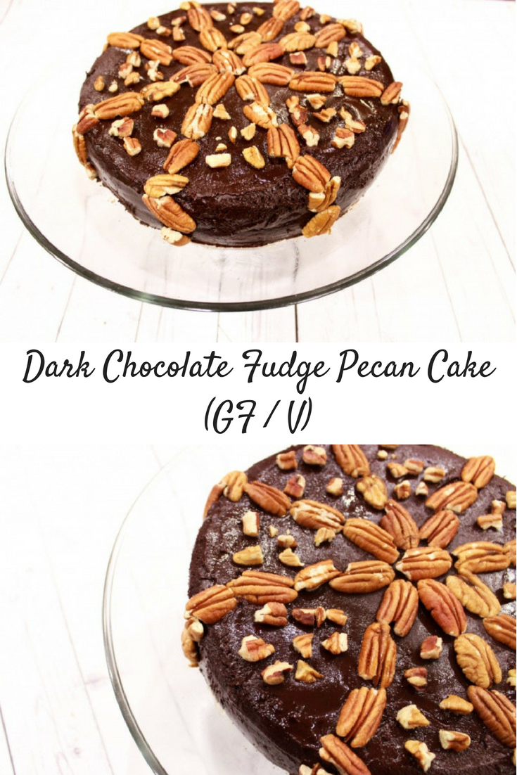 Dark Chocolate Fudge Pecan Cake (Gluten-Free / Vegan)