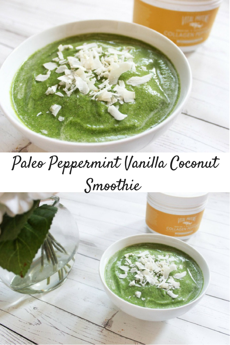 Peppermint Vanilla Coconut Smoothie Bowl (Paleo)