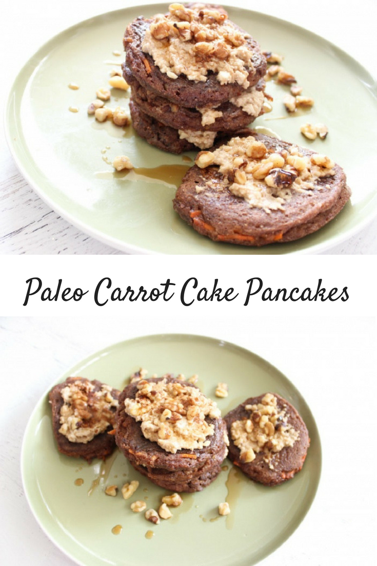 "Paleo Carrot Cake Pancakes with Cashew ""Cream Cheese"" Frosting"