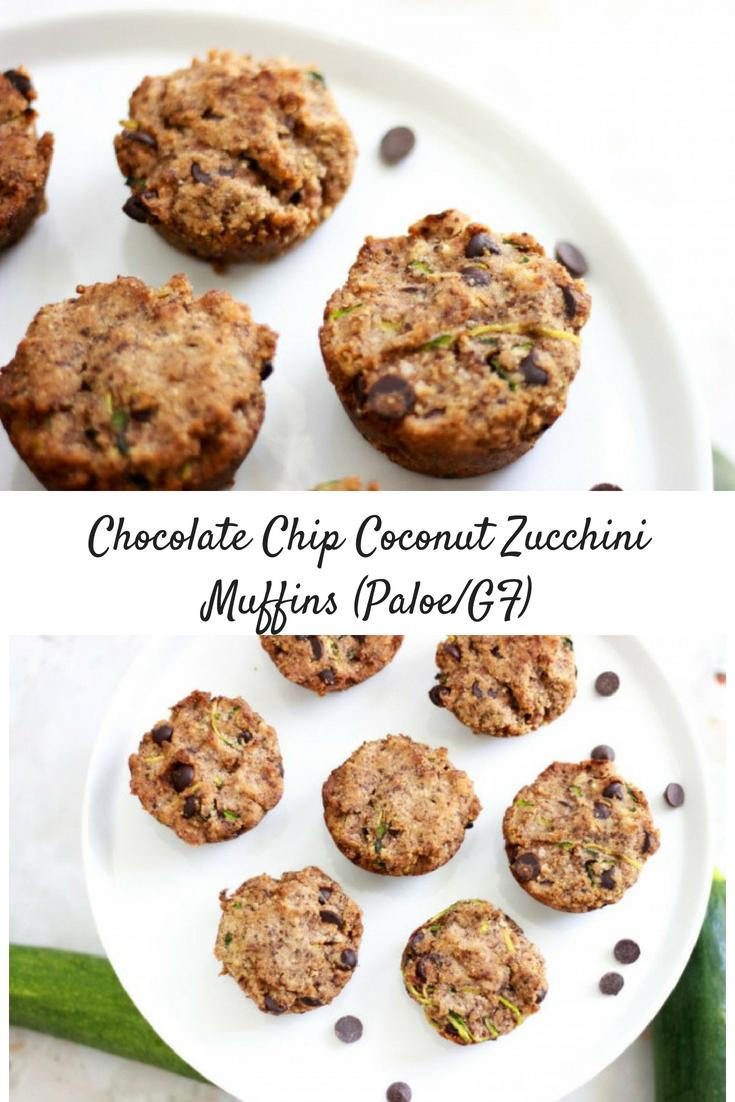 Chocolate Chip Coconut Zucchini Muffins (Paleo / Vegan / Sugar-Free)