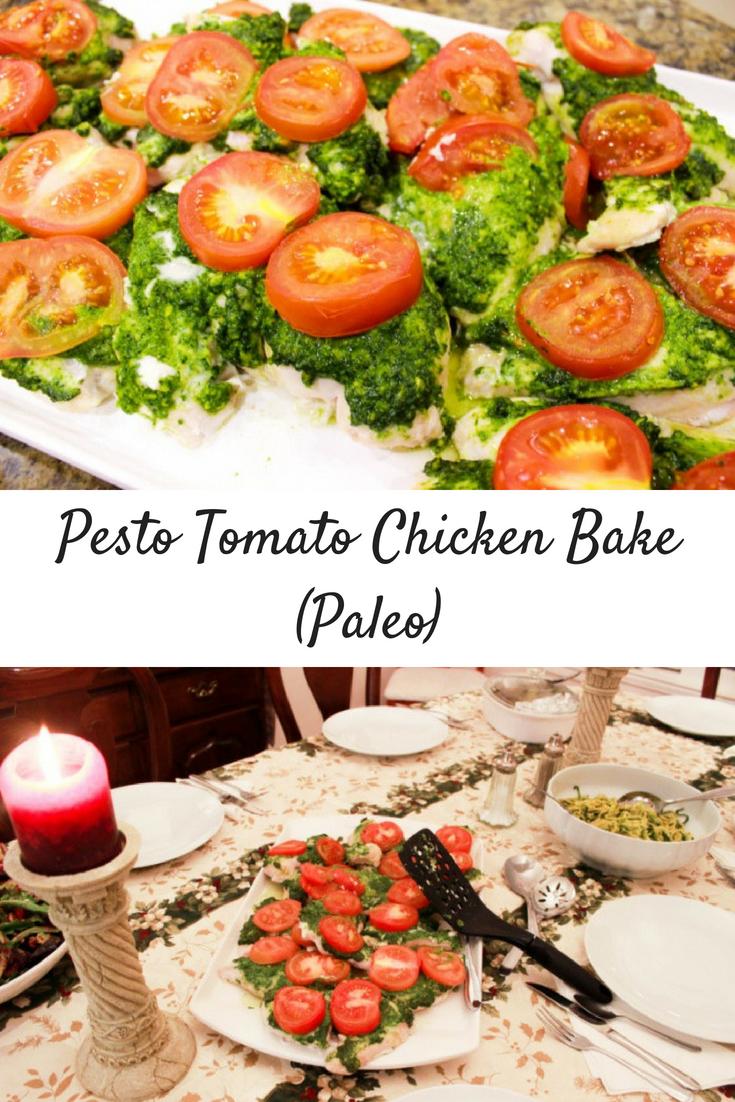 Cashew Pesto Sauce & Pesto Tomato Chicken Bake (Paleo)