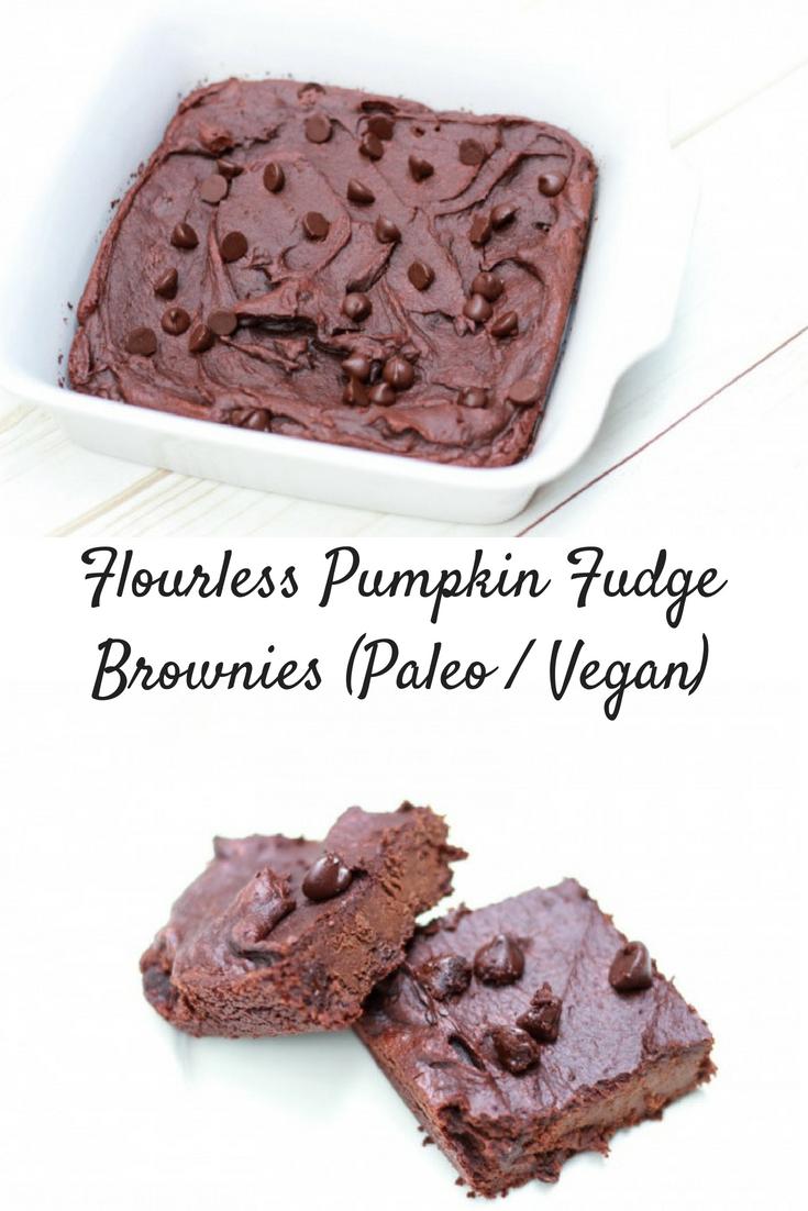 Flourless Pumpkin Fudge Brownies (Paleo / Vegan)