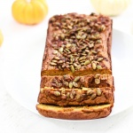 Paleo Pumpkin Bread with Spiced Sugar Pumpkin Seed Topping