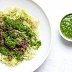 Pumpkin Seed Pesto Cabbage Pasta (Paleo w/ Vegan Option, Whole 30)