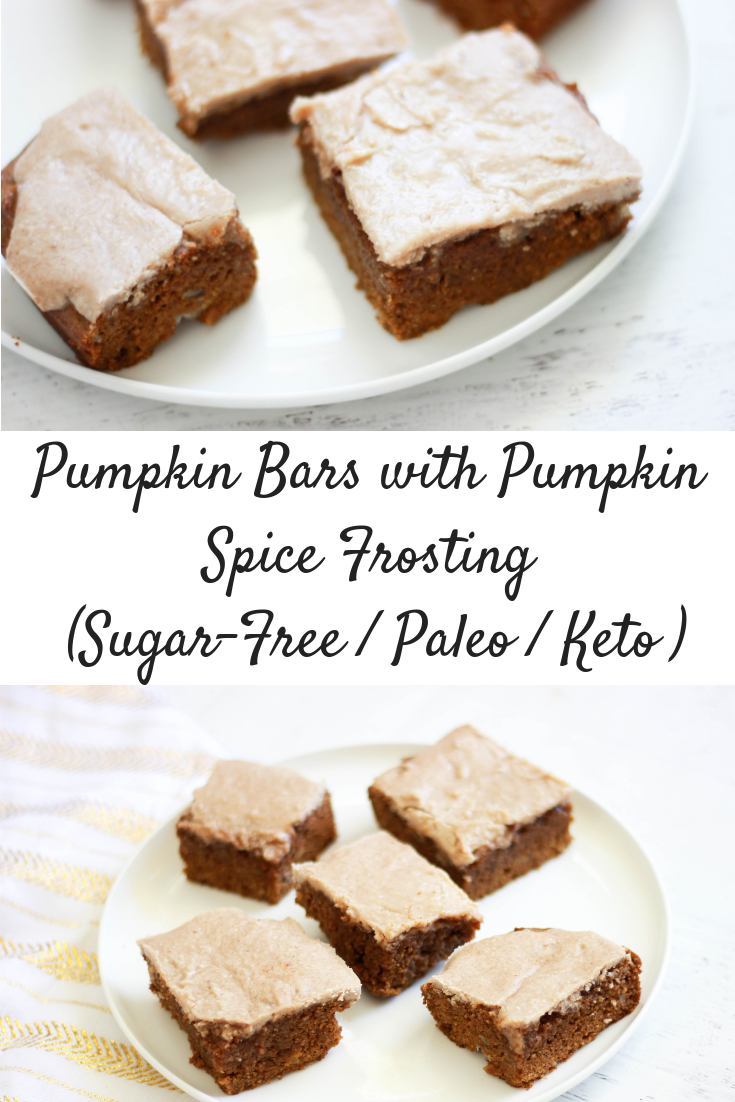 Pumpkin Bars with Pumpkin Spice Frosting (Sugar-Free / Paleo / Keto-Friendly)